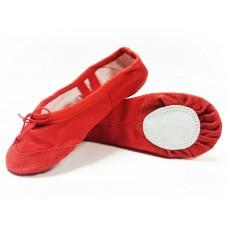 Балетки Китай красные с кожаным носком