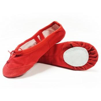 Балетки красные с кожаным носком